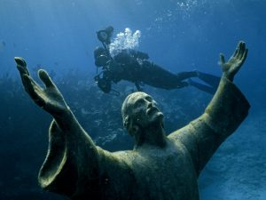 Christ of the Abyss Statue. Photo by Bates Littlehales, National Geographic 1971